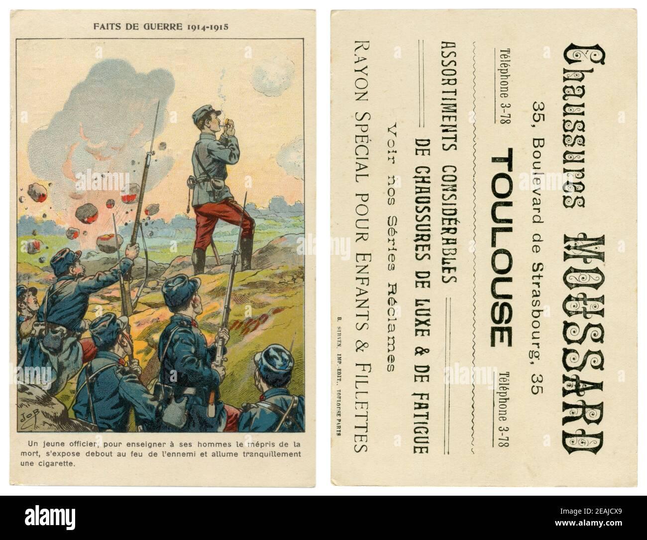 Carte postale chromolithographique de publicité historique française : un officier malgré les bombardements de l'ennemi allume une cigarette, debout, 1914 Banque D'Images