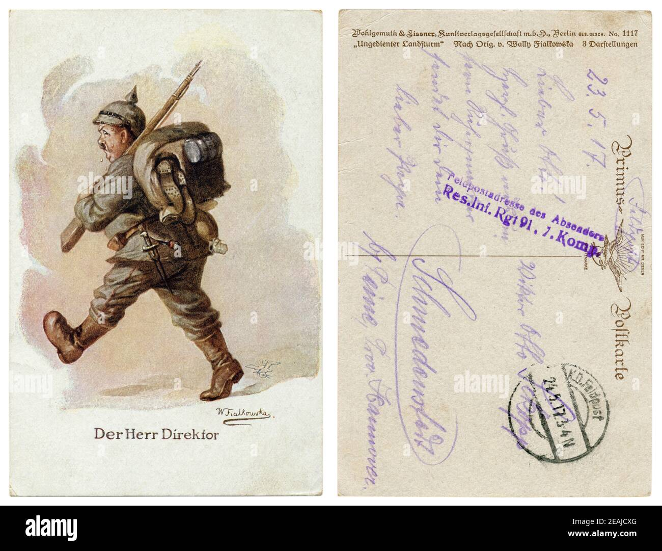 Carte postale historique allemand: Der Herr Direktor (le directeur). Un gros homme en pleine lutte contre lay-out promenades et sweats à partir du poids de la charge. L'humour. Banque D'Images
