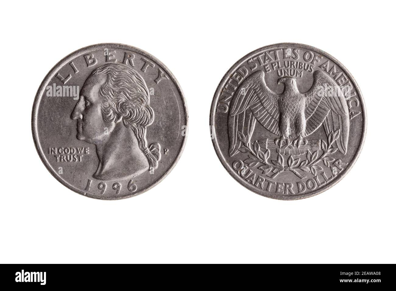 Pièce de nickel d'un quart de dollar américain (25 cents) Avec une image portrait de l'obverse de George Washington et de Bald Aigle inversé Banque D'Images