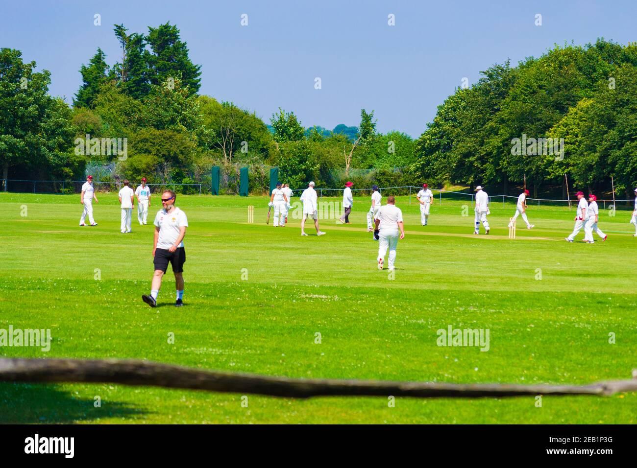 Un batteur de cricket frappe le ballon avec le cricket et le gardien de cricket debout derrière lui Banque D'Images