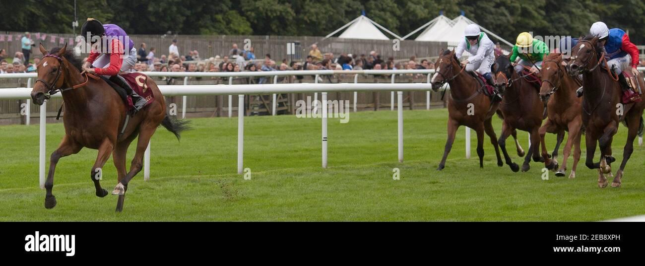 Course de chevaux - Newmarket July Festival - Newmarket Racecourse - 13/7/12 le verset gratuit de Brendan Powell (L) remporte le 13.20 le Piper-Heidsieck E.B.F. Fillies' handicap Race obligatoire crédit: Images d'action / Julian Herbert Livepic Banque D'Images