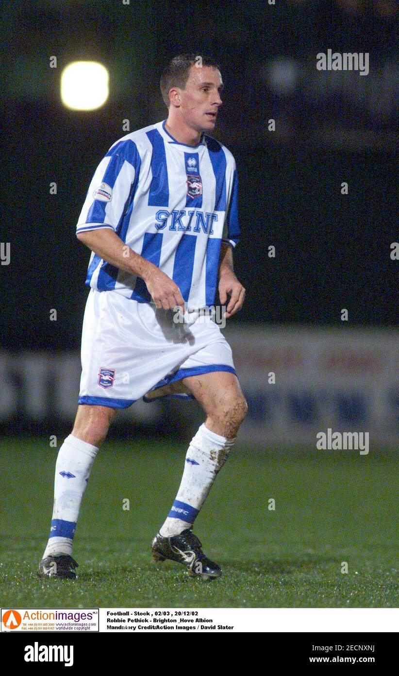 Football - stock , 02/03 , 20/12/02 Robbie Pethick - Brighton & Hove Albion crédit obligatoire:action Images / David Slater Banque D'Images