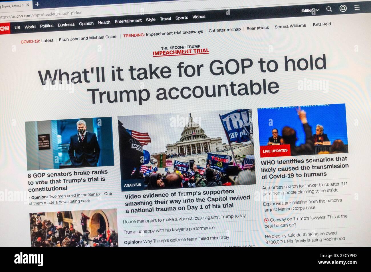 CNN Breaking news capture d'écran sur la destitution du président Donald Trump pour une deuxième fois le 10 février 2021. Banque D'Images