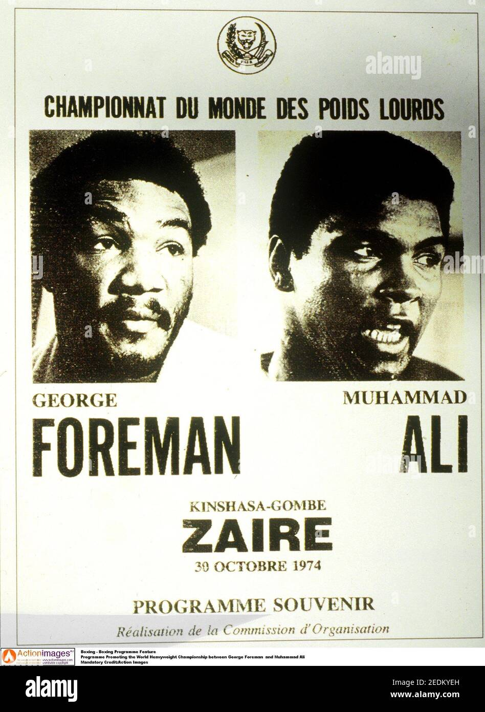 Boxe - Programme de boxe Programme de promotion du World Heavyweight Championnat entre George Foreman et Muhammad Ali crédit obligatoire : images d'action Banque D'Images