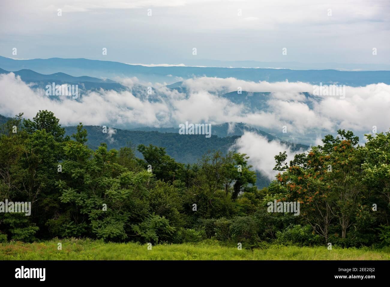 Les clounds survollent les Blue Ridge Mountains, vu depuis Skyline Drive, dans le parc national de Shenandoah. Banque D'Images