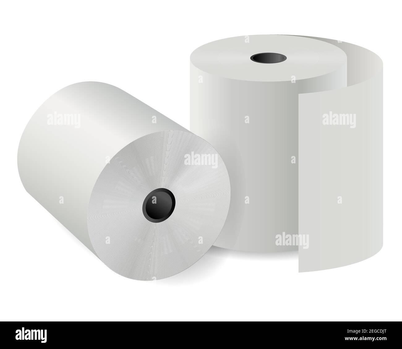 Rouleau de papier de la caisse. cylindre thermique vectoriel 3d. Illustration de la bande d'impression de la calculatrice infrarouge de télécopie. Papier toilette pour l'hygiène. Descr. Chèque paiement tissu Illustration de Vecteur