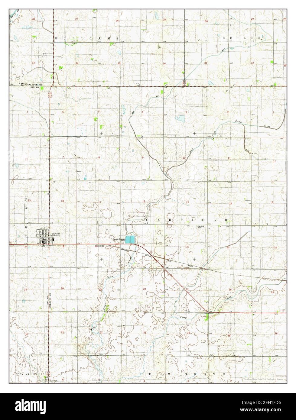 Lytton, Iowa, carte 1980, 1:24000, États-Unis d'Amérique par Timeless Maps, données U.S. Geological Survey Banque D'Images