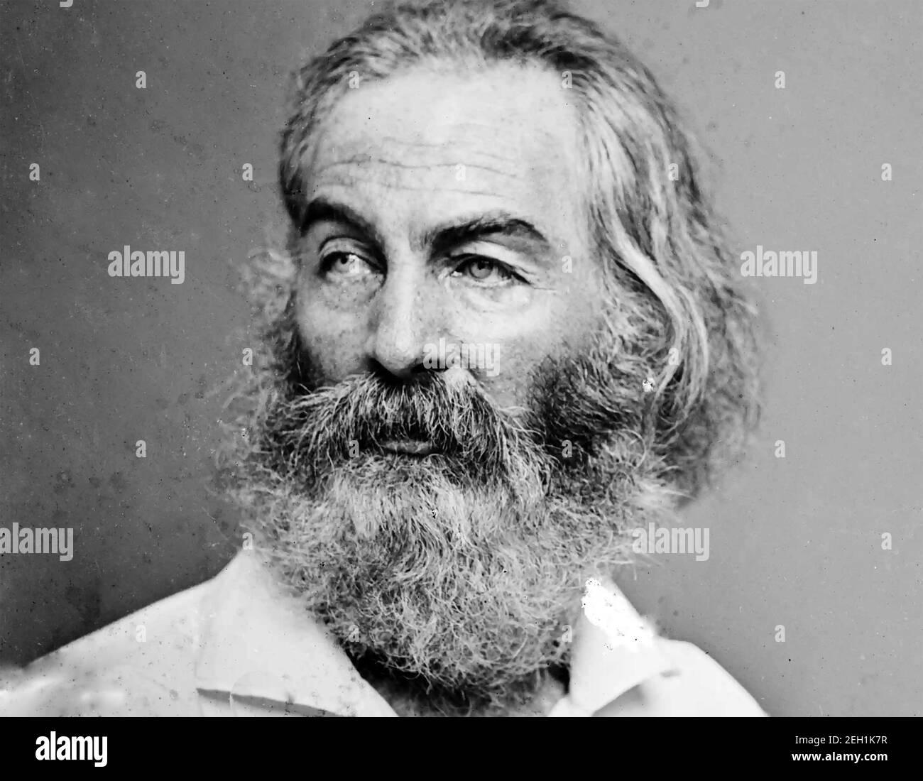WALT WHITMAN (1819-1892) poète, essayiste et journaliste américain photographié par Matthew Brady vers 1875. Banque D'Images