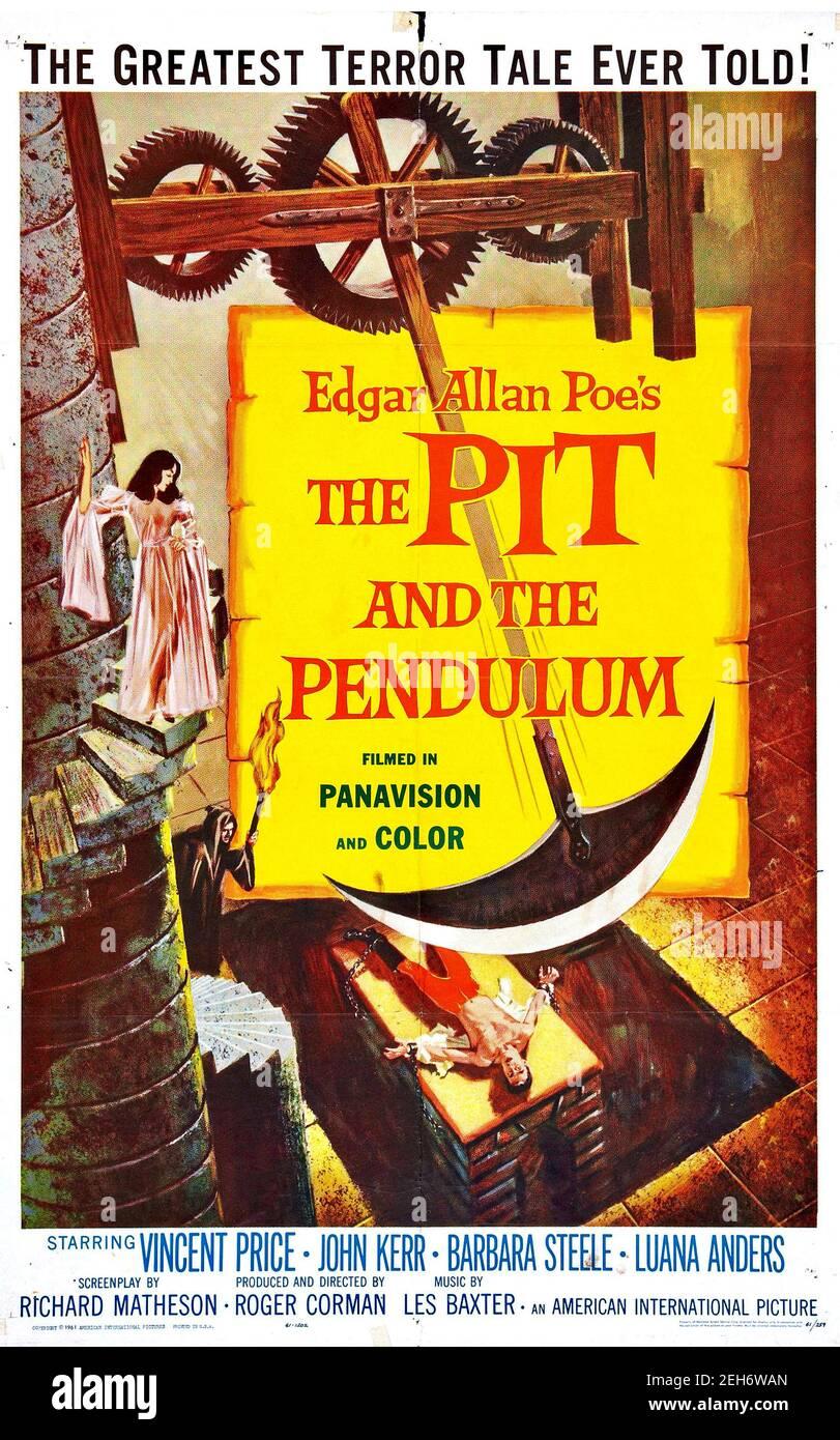 Reynold Brown a conçu une affiche annonçant le film The Pit et le pendule avec Vincent Price et inspiré par une histoire d'Edgar Allen PoE. Banque D'Images