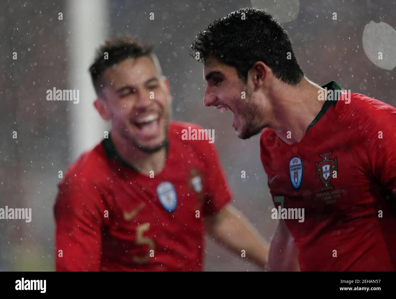 Football football - International friendly - Portugal vs Algérie - Estadio da Luz, Lisbonne, Portugal - 7 juin 2018 le Portugal Goncalo Guedes célèbre son troisième but REUTERS/Rafael Marchante Banque D'Images