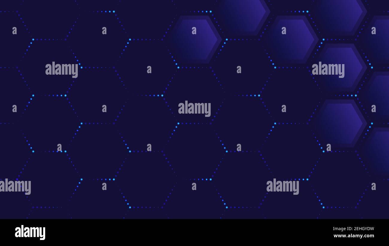 Résumé de la technologie. Illustration vectorielle d'hexagones transparents et de lignes en pointillés de couleur néon sur fond bleu pour votre dessin Illustration de Vecteur
