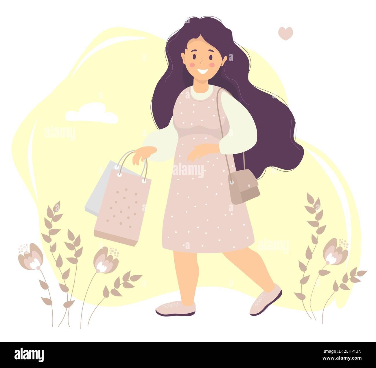 Shopping. Une fille heureuse avec de longs cheveux dans une robe rose sourit dans sa main tient des sacs en papier. Arrière-plan décoratif avec fleurs et feuilles, nuages et Illustration de Vecteur