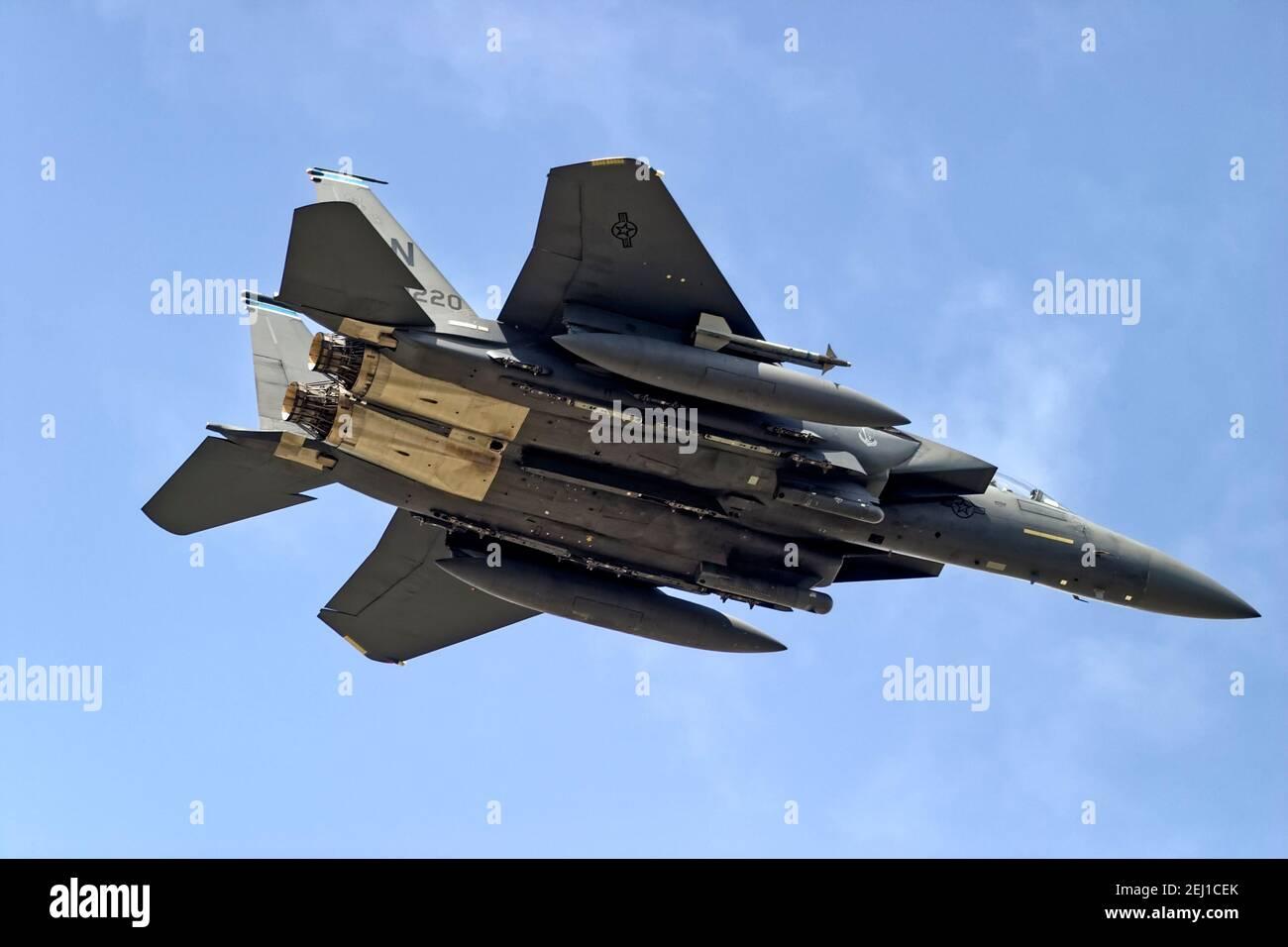 RAF Fairford, Gloucestershire / Royaume-Uni - juillet 17 2004: A United States Air Force (USAF) Boeing F-15E Strike Eagle Registration LN (Lakenheath) AF 97-0220 Banque D'Images