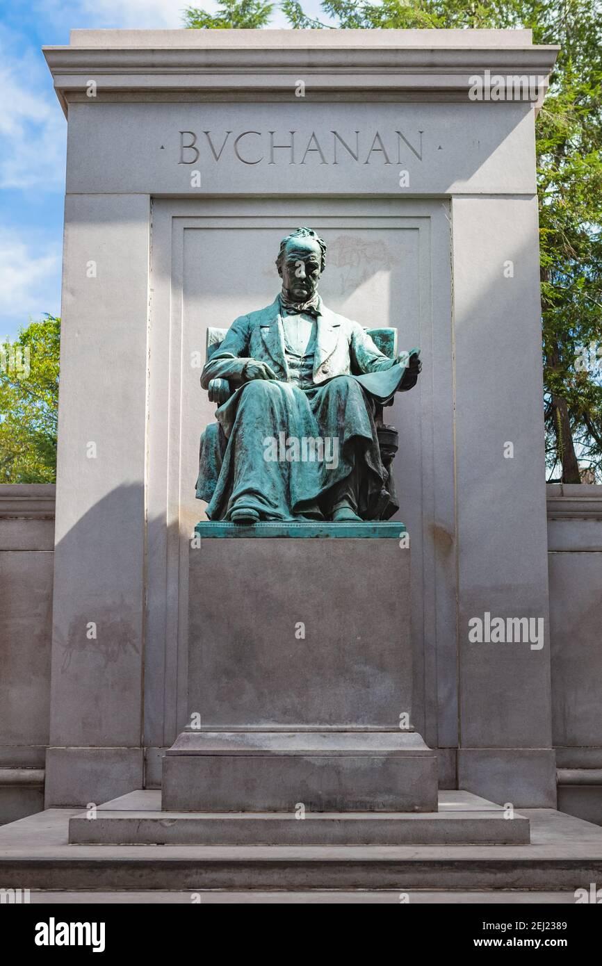 James Buchanan Memorial statue, 15e président des États-Unis, situé à Meridian Hill Park dans le quartier Columbia Heights de Washington, Banque D'Images