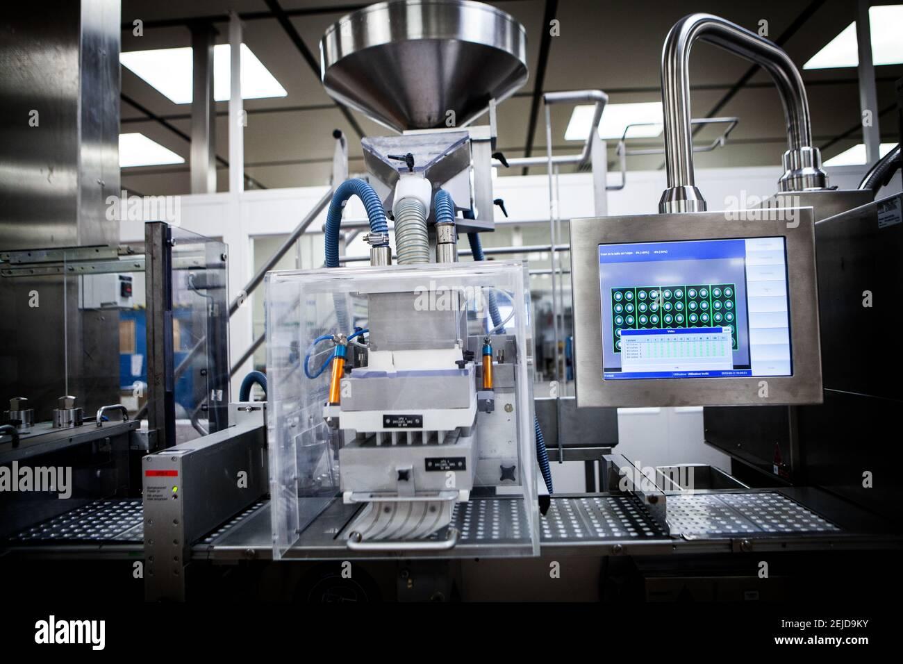 Industrie pharmaceutique spécialisée dans la production de comprimés. Banque D'Images