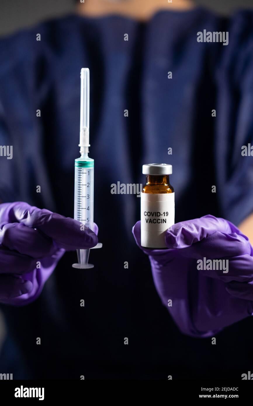 Vaccin contre le coronavirus, illustration Banque D'Images
