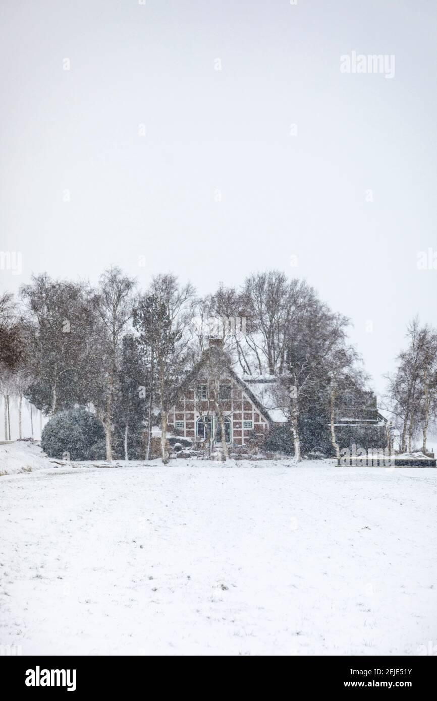 Petit cottage à colombages dans de fortes chutes de neige Banque D'Images
