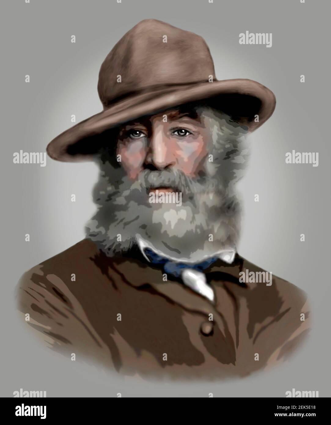 Walt Whitman 1819-1892 poète américain essayiste journaliste Modern style Illustration Banque D'Images