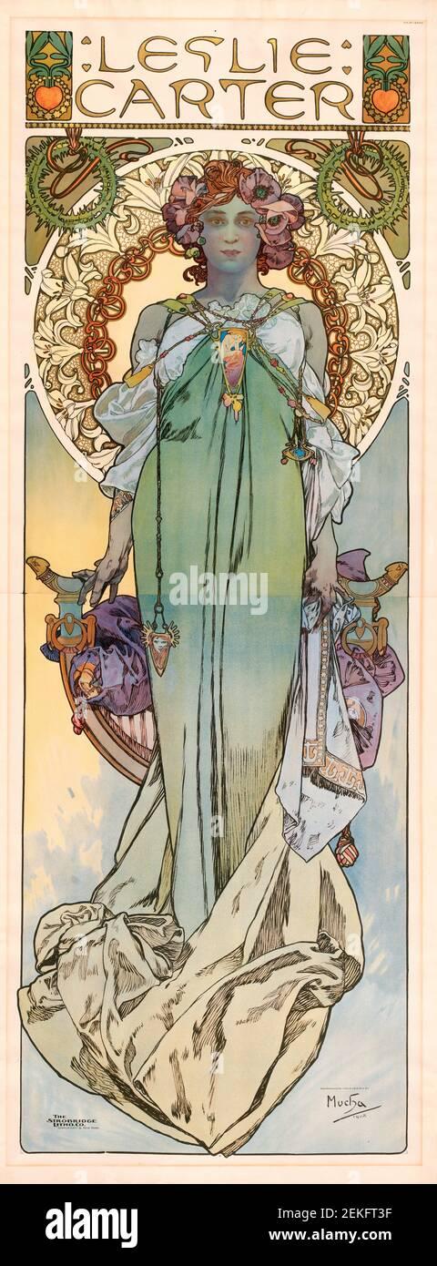 Alphonse Mucha, lithographie de couleur de Leslie carter, 1908. Alfons Maria Mucha (1860 -1939) est un peintre, illustrateur et graphiste tchèque de style Art nouveau, Banque D'Images