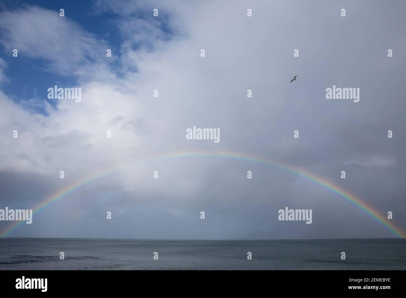 Regenbogen über den Westfjorden, Westfjorde, Westfjorde, Rainbow, Island, Islande Banque D'Images