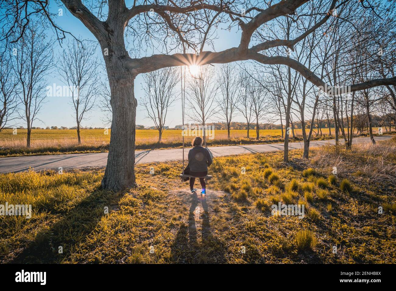 Bonne jeune femme sur un balancement avec fond de coucher de soleil Banque D'Images