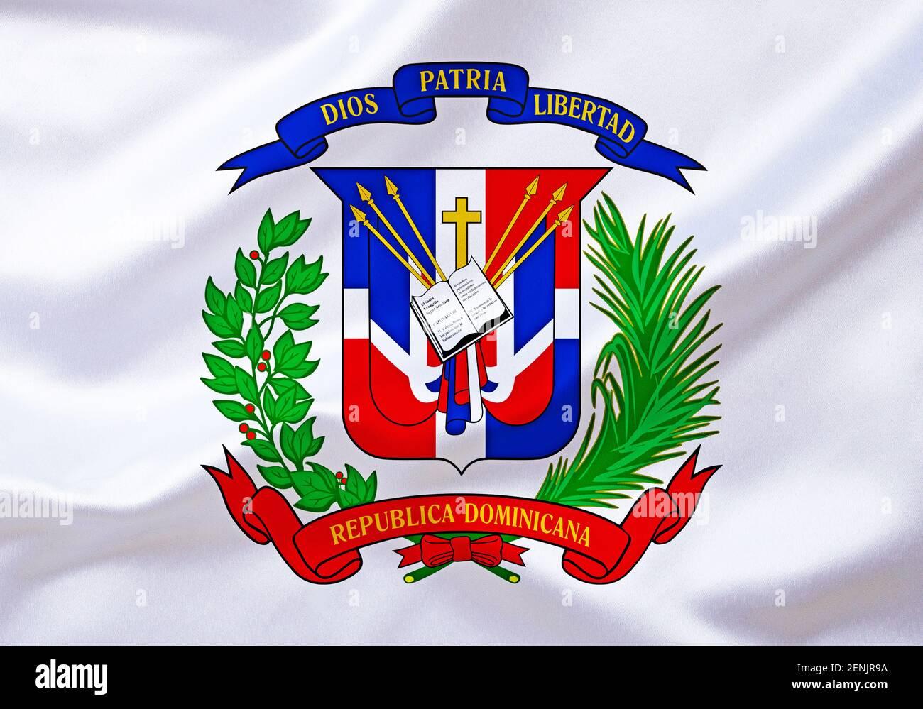 DAS Wappen von Dominikanische Republik, Karibik, Insel Hispaniola, grosse Antillen, Westindische Inseln, Banque D'Images