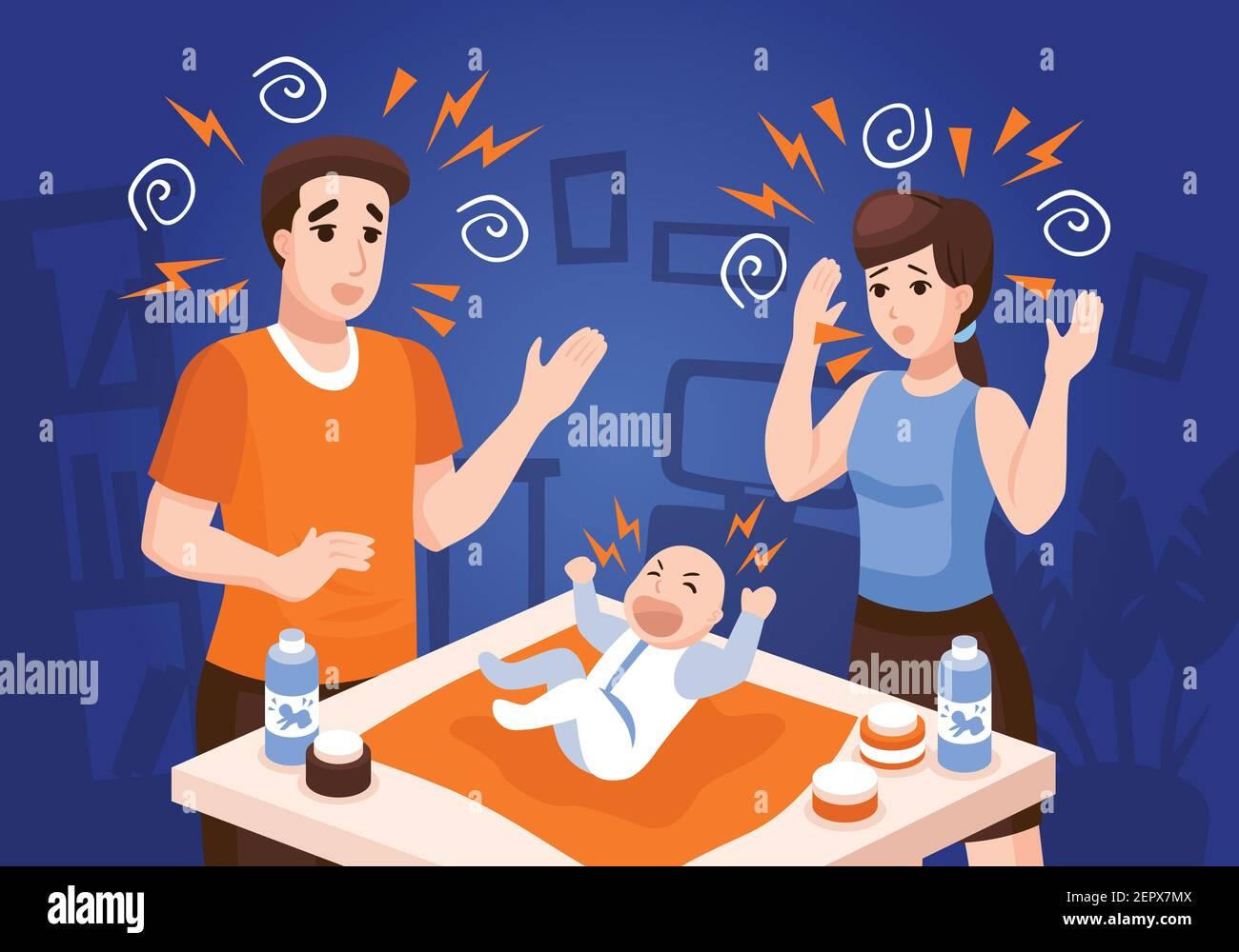 Les bébés problèmes de sommeil composition avec des parents frustrés apaisant les pleurs nouveau-nés illustration du vecteur de fond bleu de bébé de nuit Illustration de Vecteur