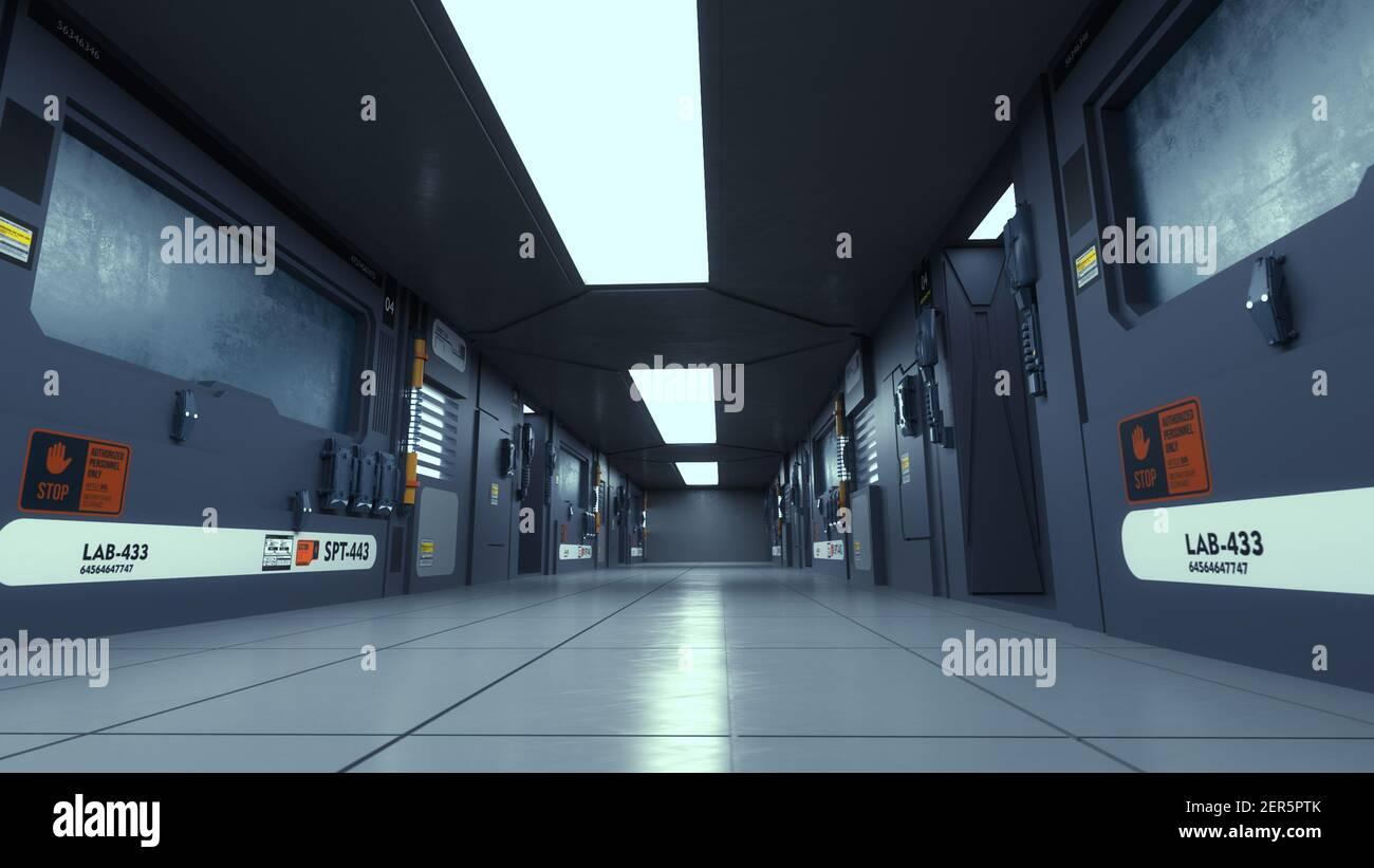 rendu 3d. Couloir futuriste. Concept d'architecture moderne et vaisseau spatial intérieur Banque D'Images