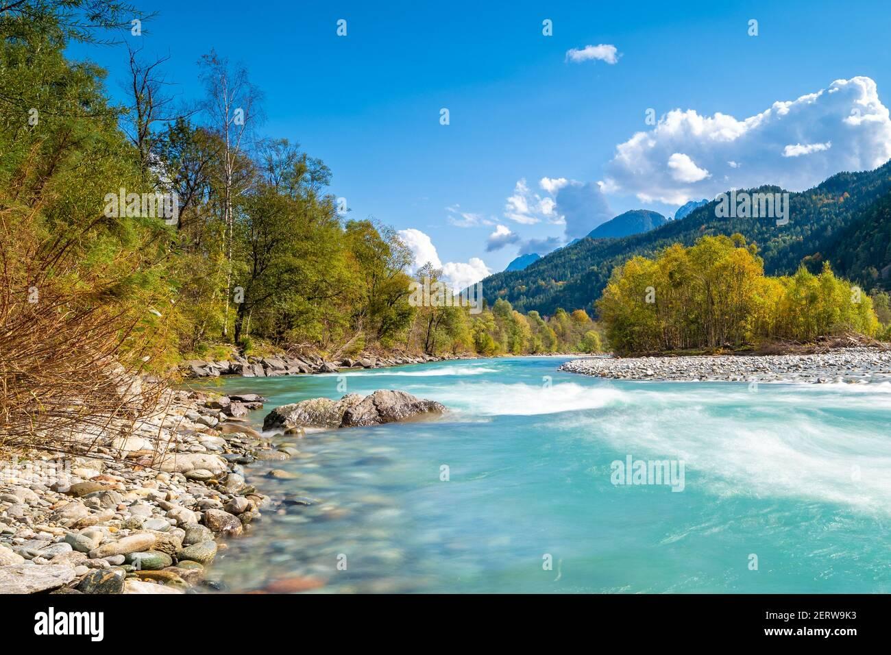 Alpin River Isel dans le Tyrol de l'est de l'Autriche Banque D'Images
