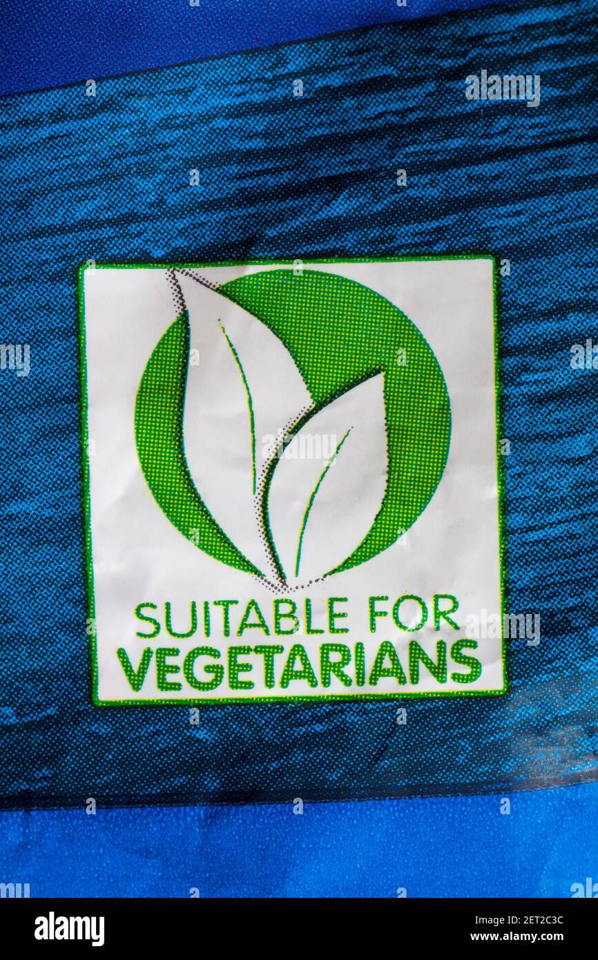 Convient pour les symboles végétariens sur le lot d'Aunt Les roasties croustillantes et moelleuses de Bessie Banque D'Images