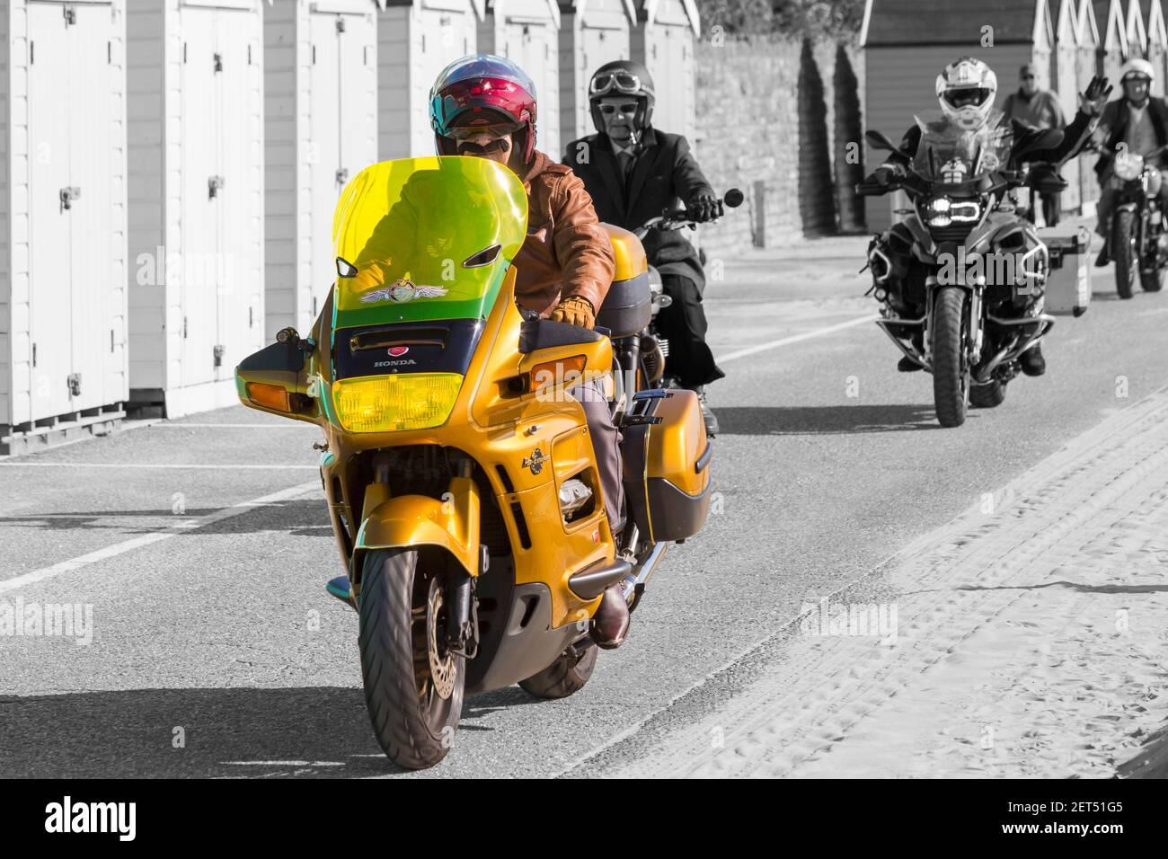 Honda pan European Rider à Bournemouth et Poole Distinguished Gentlemen's Ride à Bournemouth, Dorset UK en septembre Banque D'Images