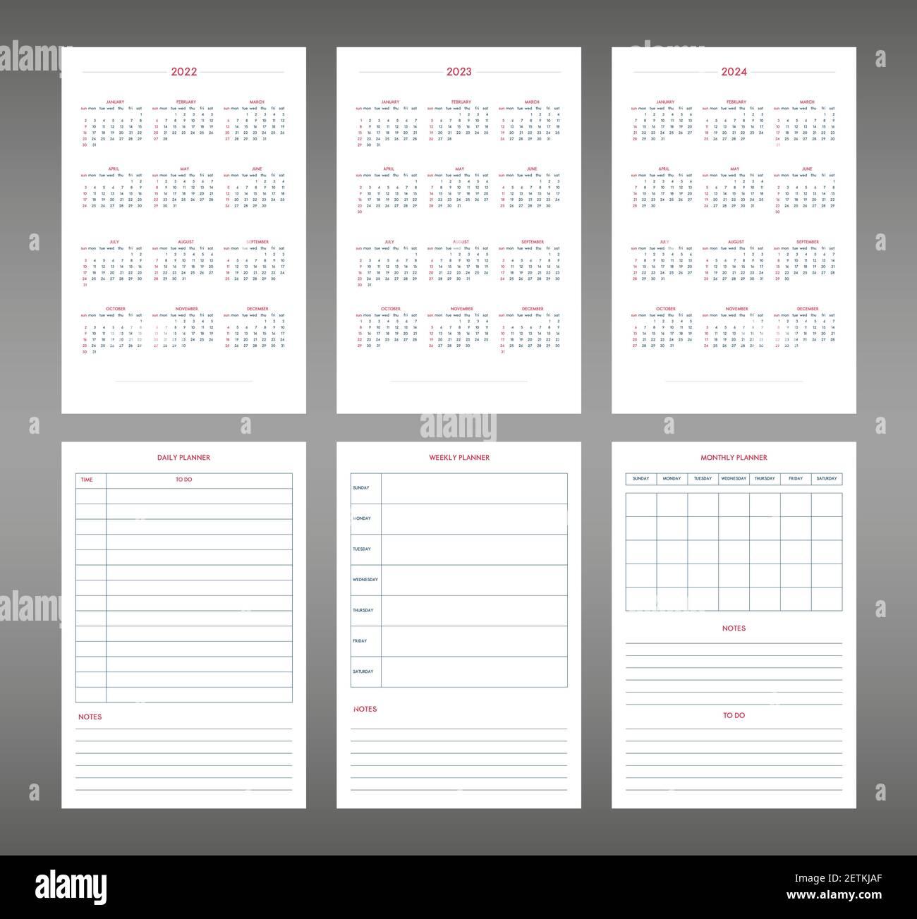 Calendrier Mensuel 2022 2023 2022 2023 2024 2025 calendrier quotidien hebdomadaire modèle de