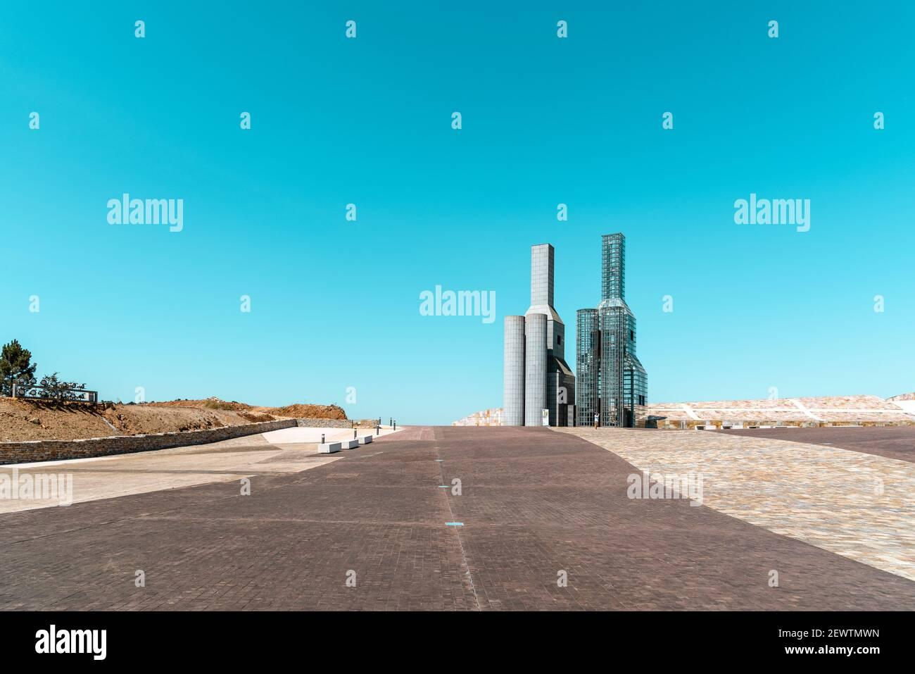 Saint-Jacques-de-Compostelle, Espagne - 18 juillet 2020 : vue de la ville de la culture de Galice. Situé sur le sommet du mont Gaias comme un jalon architectural. De Banque D'Images
