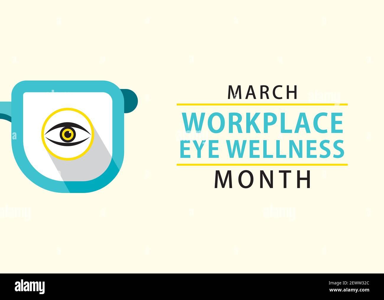 l'illustration vectorielle de mars est le thème du mois du bien-être oculaire en milieu de travail conception Illustration de Vecteur