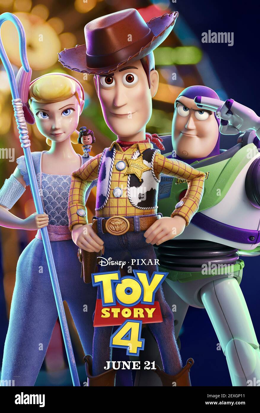 PEP,WOODY,LIGHTYEAR, TOY STORY 4, 2019 Banque D'Images