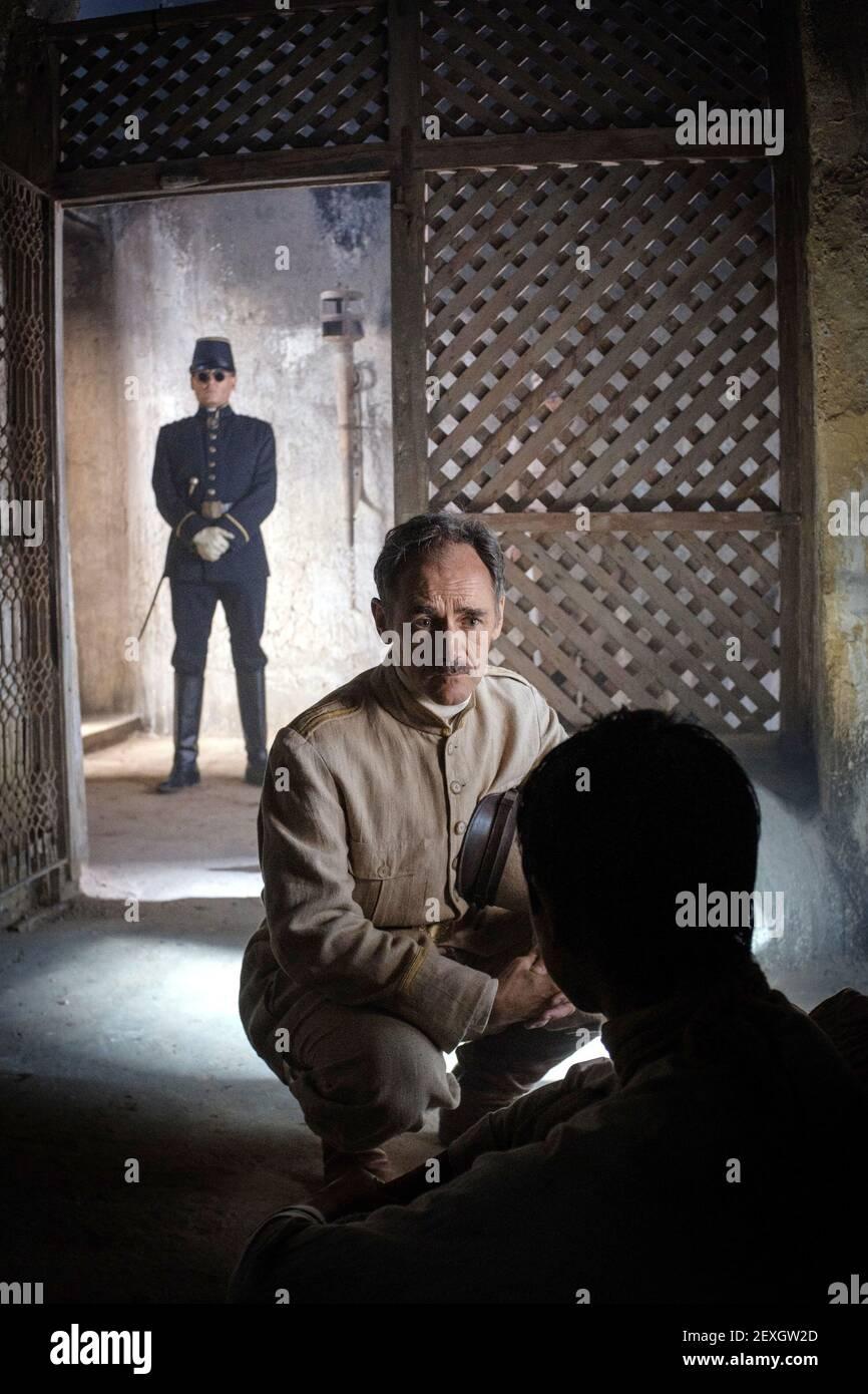 JOHNNY DEPP, MARK RYLANCE, EN ATTENTE DES BARBARES, 2019 Banque D'Images