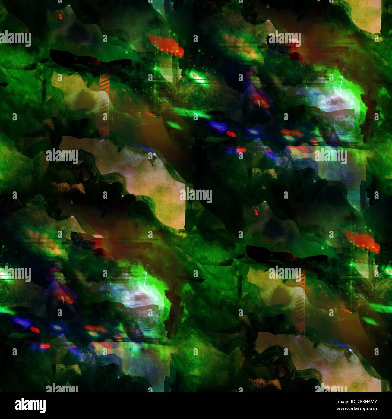 Fond vert, jaune sans couture aquarelle couleur eau art abstrait Banque D'Images