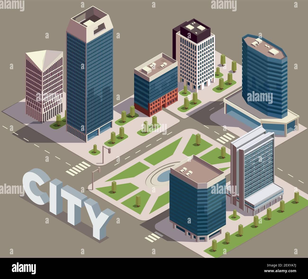 Gratte-ciel de la ville composition isométrique avec vue sur la ville bloc avec grands bâtiments modernes rues et illustration vectorielle de texte Illustration de Vecteur