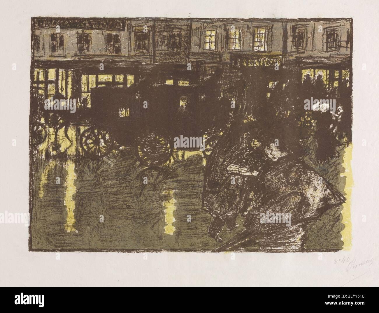 Pierre Bonnard (français, 1867-1947), publié par Ambroise Volard, imprimé par Auguste Clot - quelques aspects de la vie de Paris, rue le soir dans la pluie Banque D'Images