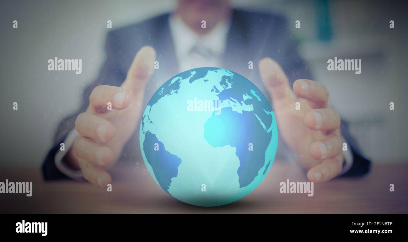 Image numérique composite de la section médiane du globe d'homme d'affaires Banque D'Images