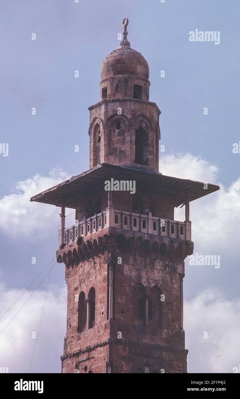 La période Mamluk Ghawanima Minaret, 1299, Haram al-Sharif, Jérusalem, Palestine Banque D'Images