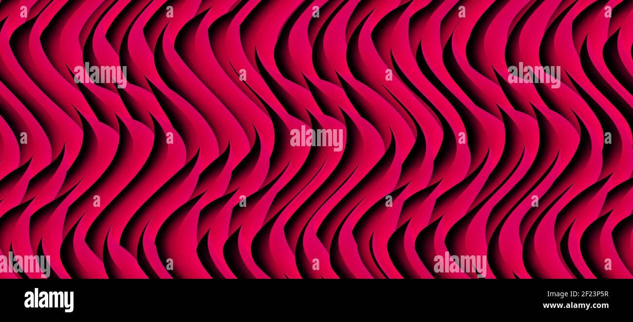 Motif ondulé rouge violet vif. Arrière-plan des lignes courbes du volume Banque D'Images