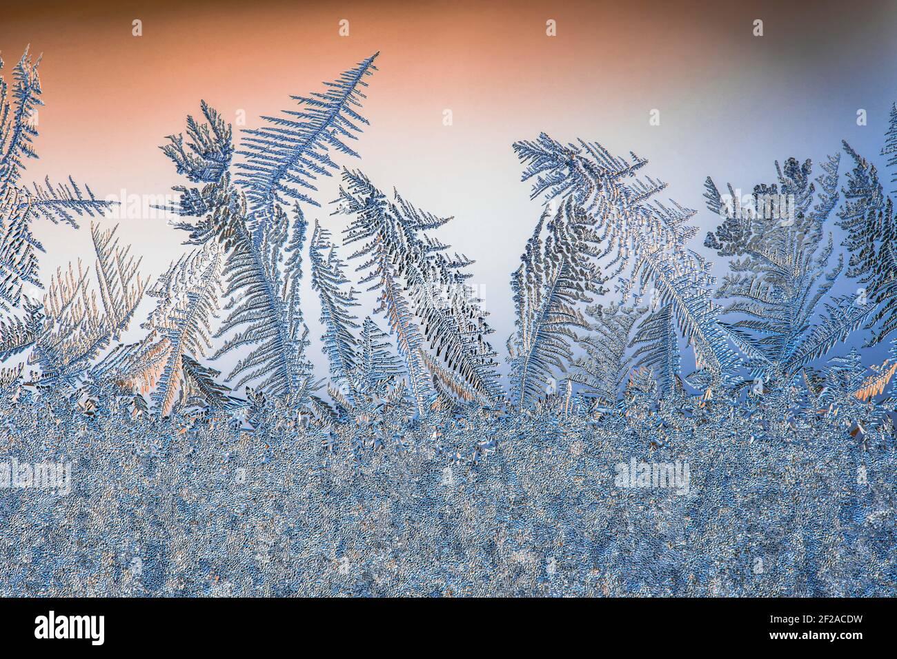 Motifs de givre sur le verre en hiver. Art. Cristal eau surgelée Banque D'Images