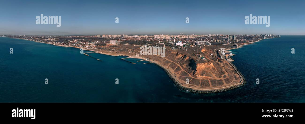 Panorama aérien spectaculaire de Cape Big Fountain. Odessa Ukraine, film Drone, heure du matin. Banque D'Images