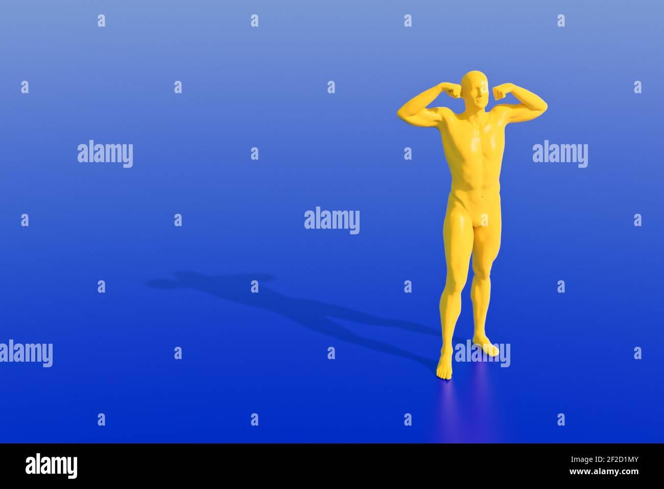 Figure mâle jaune contre fond bleu chiffres CGI sans MR/PR obligatoire Banque D'Images