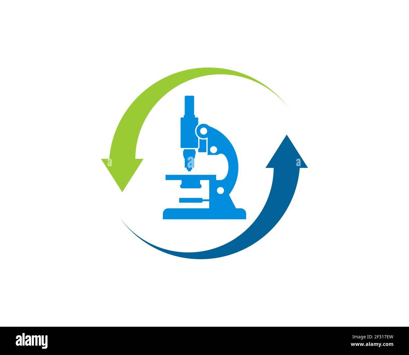 Flèche à l'envers avec microscope à l'intérieur Banque D'Images