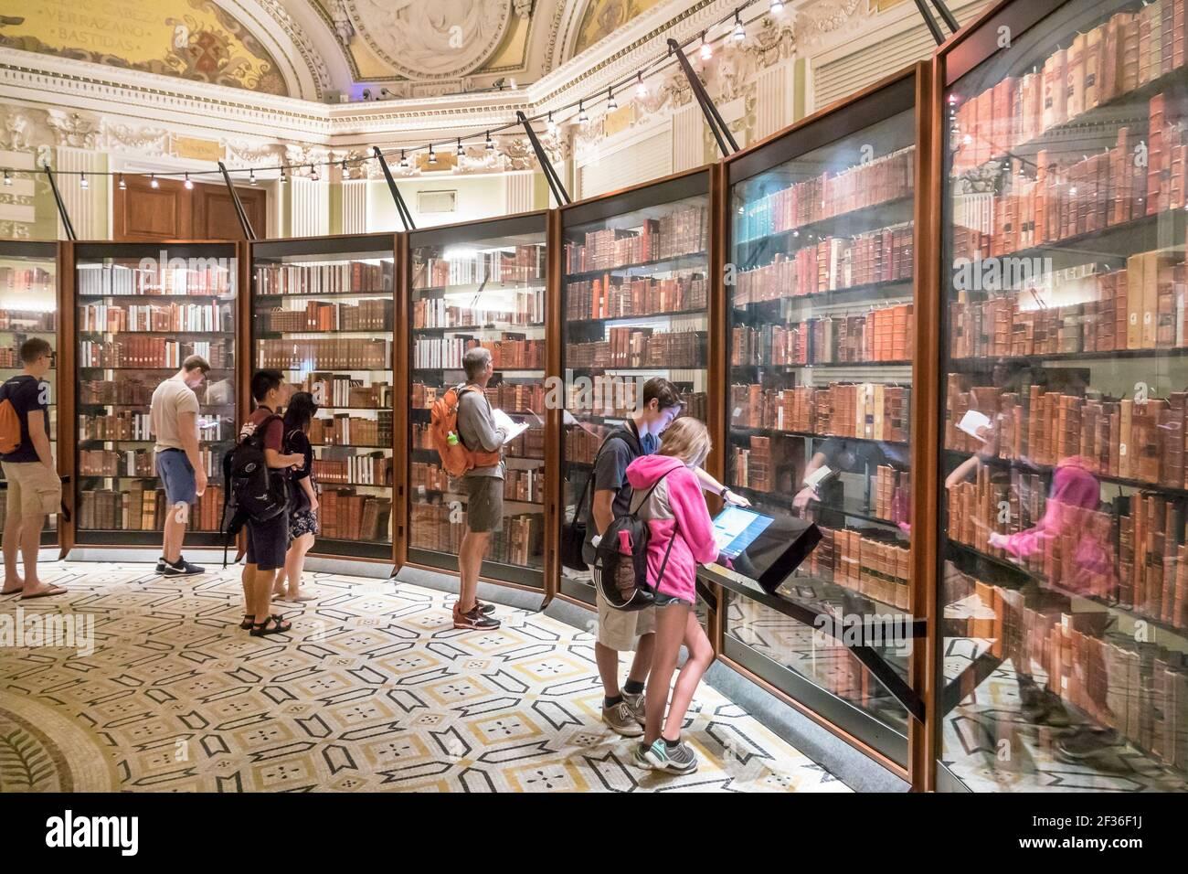 Washington DC Library of Congress, Thomas Jefferson Memorial Building Southwest Pavilion, recréa les étagères personnelles de livres de bibliothèque Thomas Jefferson Banque D'Images