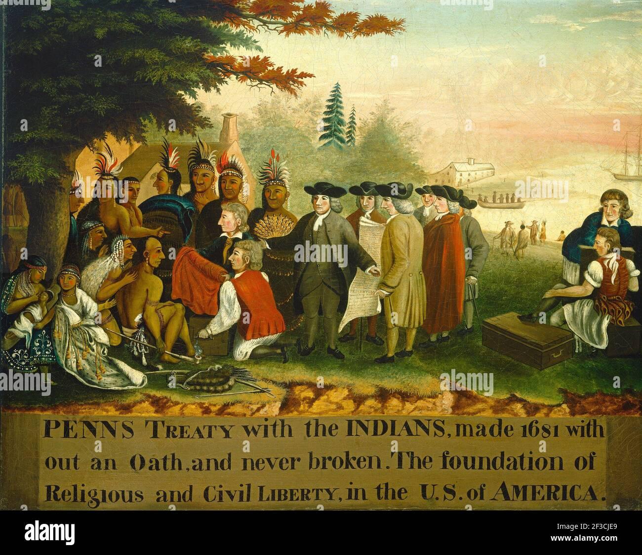 Traité de Penn avec les Indiens, c. 1840/1844. Banque D'Images