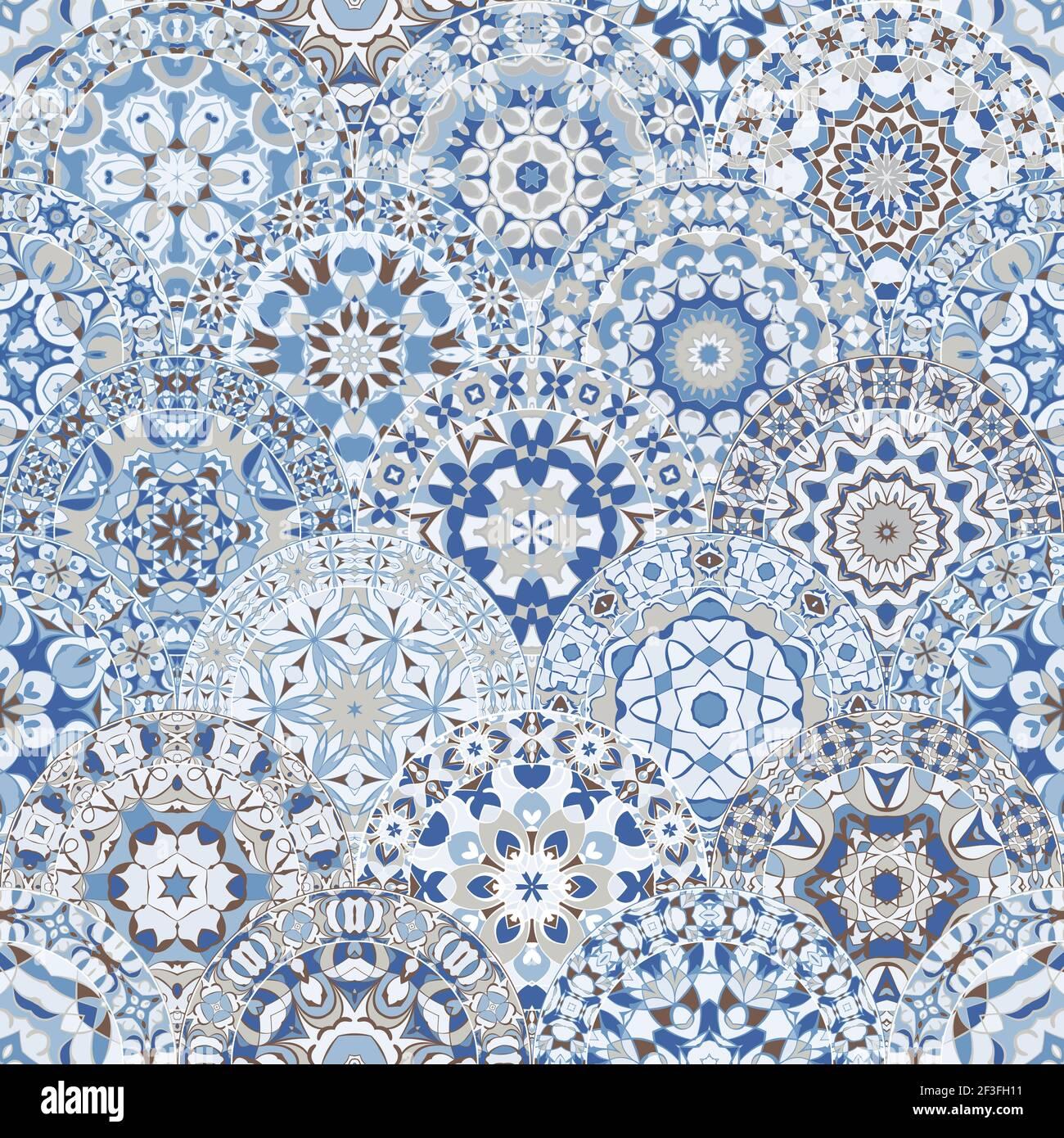 Motif lumineux sans couture avec des mandalas colorés de style oriental. Décoration multicolore arabe pour impression sur papier de minerai de tissu. Illustration de Vecteur