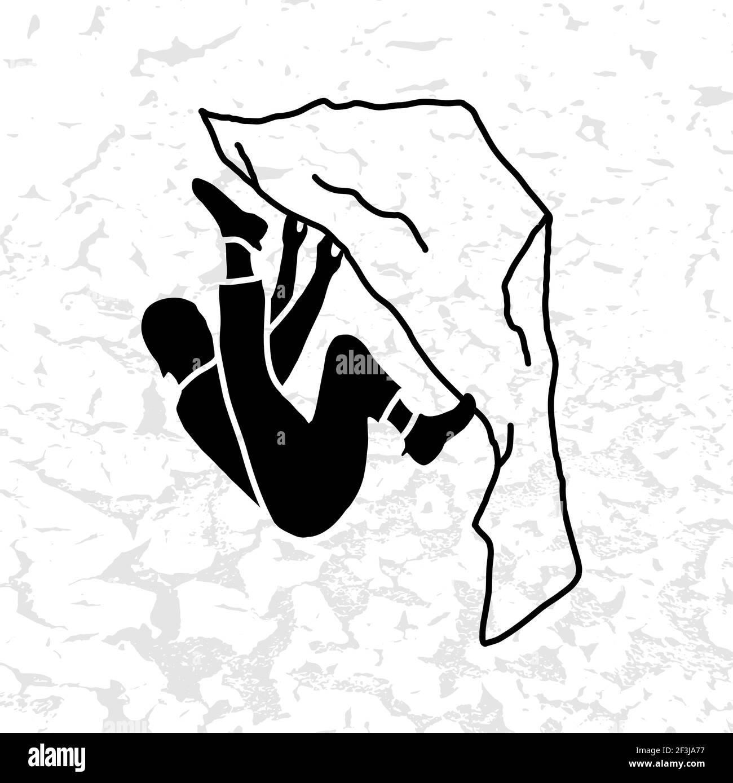 Illustration du vecteur Mountain Climber. Silhouette noire. Badge d'escalade. SPE 10 Illustration de Vecteur
